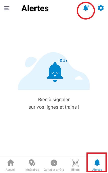 乗車予定・購入済みの長距離列車(TGV・TERなど)に影響が出た場合に、素早く教えてくれる便利な「アラーム機能」