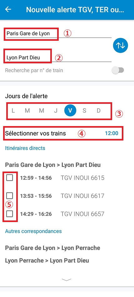 乗車予定・購入済みの長距離列車(TGV・TERなど)に影響が出た場合に、素早く教えてくれる便利な  「アラーム機能」