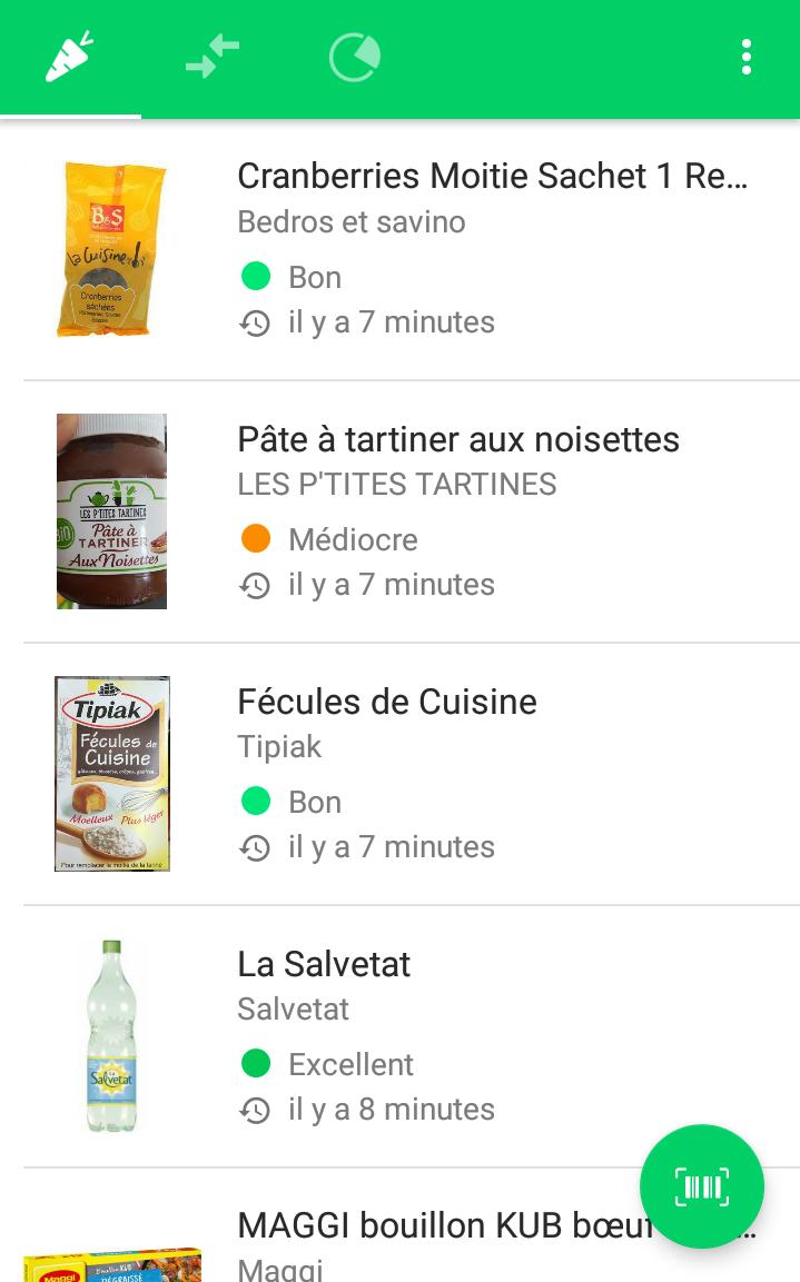 スキャンした食品の一覧画面