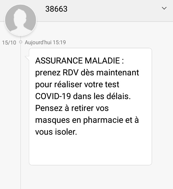 コロナの感染疑いが強い人に送られてくるl'assurance maladieからの恐怖のメッセージ。