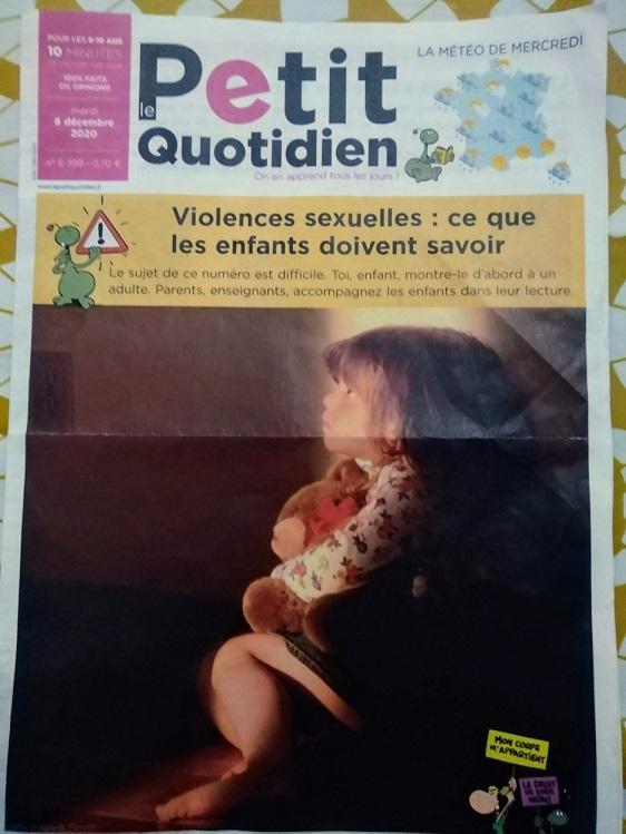 「児童性的虐待」を一面で取り上げた「Le Petit Quotidien」は6~10歳用の新聞