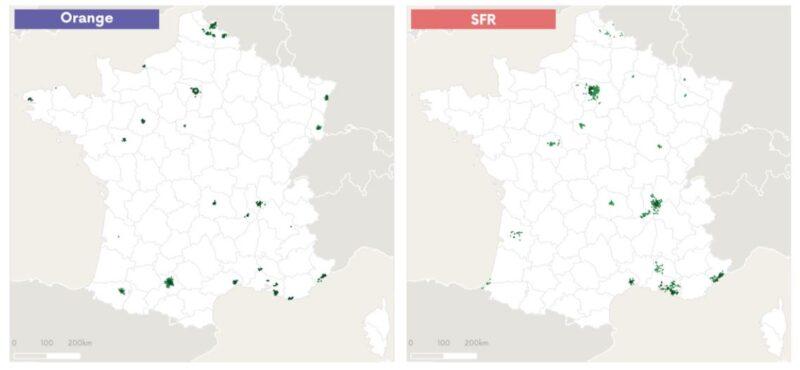 フランス4大キャリアの5Gアンテナ(対応基地局)マップ